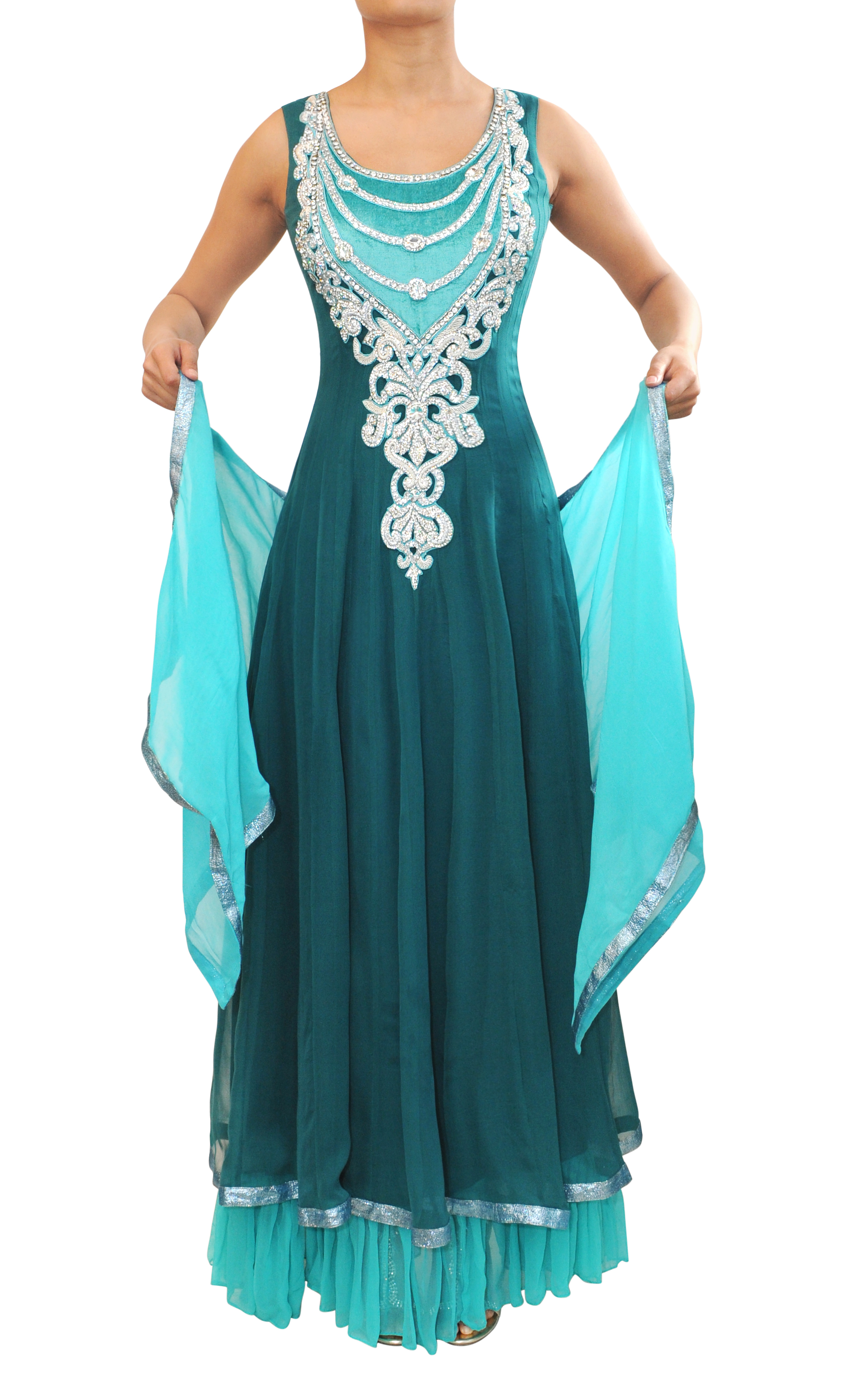 FunkyAsian - Crystal embroidered teal chiffon goergette layered gown ...