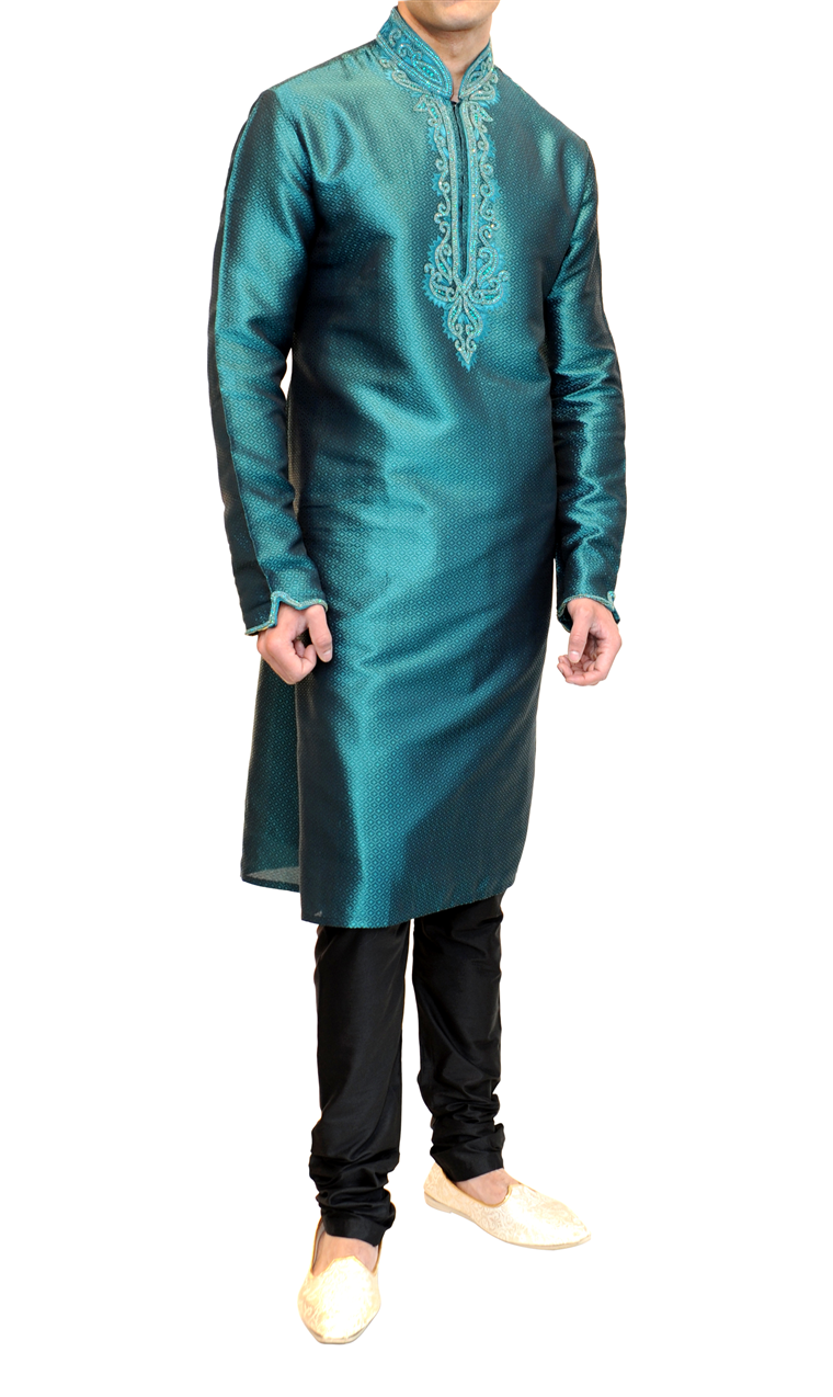 FunkyAsian - Nehru collar kurta pyjama with matching coloured ...